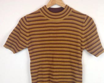 Vintage 90s Ribbed Knit Tshirt Shirt  Ribknit Brown Raver Sporty Clubkid Y2k Hackers Sweater Short Sleeve Top
