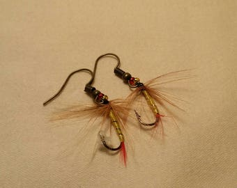 Yellow, Brown & Red Fly Fishing Earrings