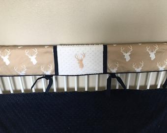crib rail guard teething set tan deer buck navy personalized  Baby bedding nursery crib rail guard teething set