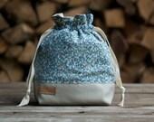 Knitting Bag, Project Bag, Drawstring Bag, Knitting Project Bag, Upcycled, Knitting Gift, Sock Bag, Makeup Bag, Toiletry Bag, Mens Knitting