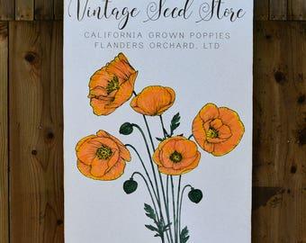 Poppy - Vintage Seed Garden - Wall Art - Rue Sonoma Original Design