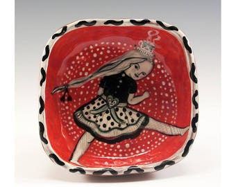 Traveling Gal - Painting by Jenny Mendes in a Square Ceramic Pinch Bowl