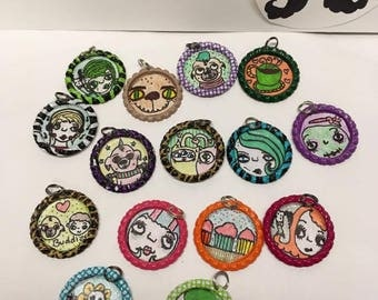 Bottle cap pendants,hand drawn,resin,flowers,zombies,vampires,cats,monster,coffee,donuts,pink,yellow,green,fun,funky,kawaii,creepy,party