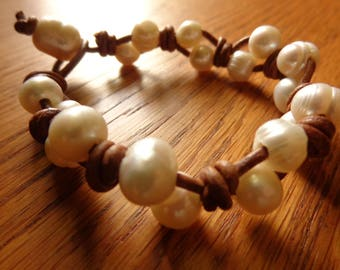 Brown and White Pearl and Leather Bracelet