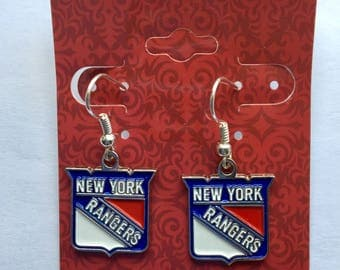 New York Rangers pierced earrings 1 inch drop handmade, hockey jewelry , sports jewelry, NY Rangers, stocking stuffer, Christmas gift
