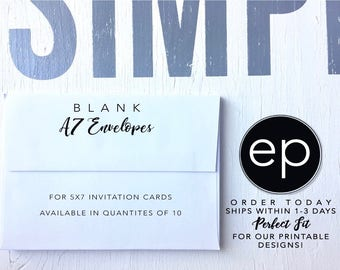 Blank A7 Envelopes - White