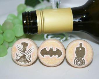 Super Hero Wine Stopper, Batman Gift, Super Hero Lover, Wine Lover, Wine Stopper, Wedding Gift, Wedding Favor, Cork Stopper, Batman Stopper