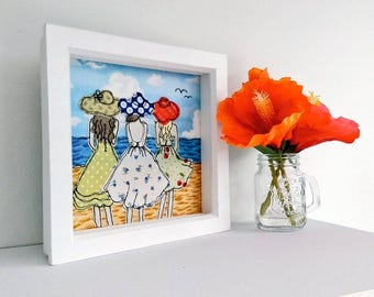 A Day At The Beach Embroidered Picture by Lillyblossom. Sunhats ocean summer dresses seaside vacation beachcomber