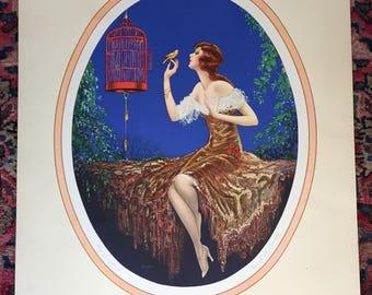 Marcel Le Boulte Art Deco signed print 'My Songbird'