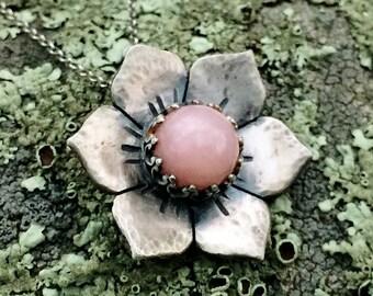 Peruvian Opal Flower Necklace, Sterling Silver, Pink flower Necklace, Jewelry for Women, Gypsy Jewelry, Boho, Mandala Flower