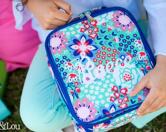 Monogrammed Garden Party Multi-Colored Lunch Box Trimmed in Royal Blue; Back to School; Great for Girls