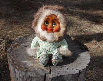 Vintage 1980s Naber Hand Carved Handmade Kids Doll from Alaska