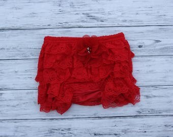 Red Lace Bloomers with Chiffon Flower-petti bloomers lace- toddler diaper covers-Ivory Lace Bloomers -Lace diaper cover-newborn diaper cover