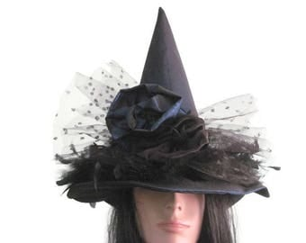 Witch Hat Blue Satin Elegant Witches Hat Fancy Hat Halloween Witch Hat Party Hat