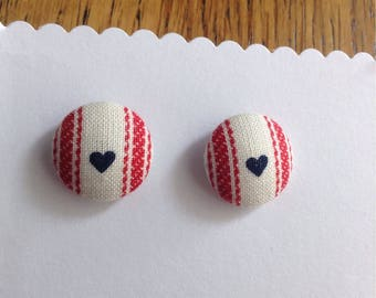 CLOSING DOWN SALE- Buy any 2, Get 3rd Free- 15 mm Surgical Steel Fabric Stud Earrings, Navy Blue Hearts with Red Stripes