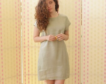 Womens' dress, box dress, t-shirt dress, linen/ cotton  short sleeves, pockets, knee line, XS-XL sizes