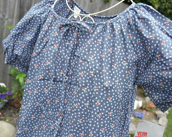 Vintage House Dress Summer Robe - NWT Sears Snap Front Housecoat - Grey Blue Floral - SM