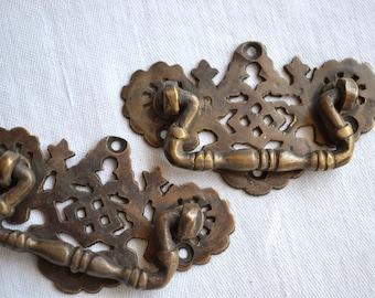 Vintage Drawer Pull Handles - Cast Brass Filagree - 2