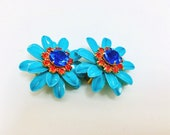 Vintage Enamel Flower Earrings Turquoise Colored Clustered Blue & Orange Rhinestone Center  Mid Century Retro Art Deco Runway Statement