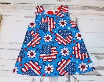 Star Spangled Flowers 4th of July Aline Dress Readymade Sz 6 9 12 Months Ready to ship America Celebrate Fourth Parade Independence day