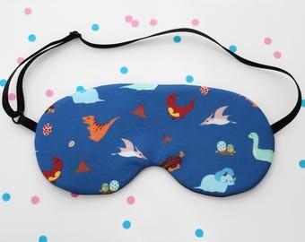 Dinosaur Sleep Mask, Blue Eye Mask, Cute Accessory, Handmade, Silk Back