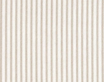 "Beige Ticking stripe, Bedskirt with gathers queen size, 22"" drop shirred, gathered bed skirt,"