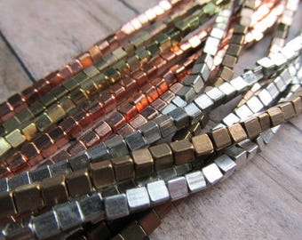 3 x 3.5mm Cube Strand African Metal Beads, Choice of Finish, African Brass Beads, African Beads, Brass Beads, Bead Strands