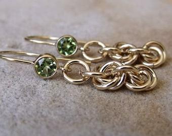Gold Filled Peridot Earrings