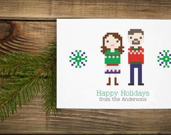 Custom Illustrated Family Christmas Holiday Card (Digital File)