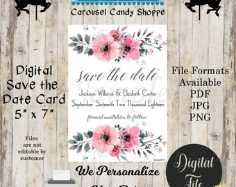 Printable Pink and Gray Flowers Save The Date Wedding Card, DIY, We Personalize, You Print