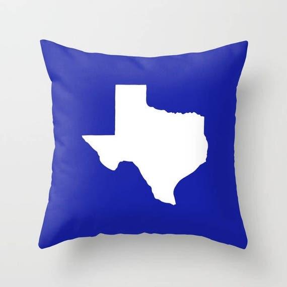 Texas Throw Pillow - Azure Blue Pillow - Texas Cushion - Cobalt Pillow - Texas Pillow - Texas State Pillow - Texas Gift 16 18 20 24 inch