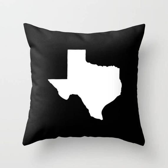 OUTDOOR Throw Pillow - Texas Outdoor Pillow - Black & White patio cushion - 16 18 20 inch - Texas Outside Pillow - Texan Pride - Texas