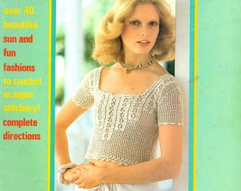 Summer Crochet Filet Sweater Triangles Granny Squares Flowers Cluster Stitch Shawls Baby Toddler Clothes Craft Pattern Magazine 1976