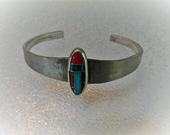 Vintage Semi Precious Gemstone Inlay Cabochon and Vintage Sterling Silver Silverware Cuff Bracelet, CB10