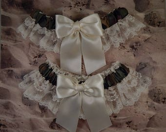 Camo Camouflage Hunting Satin Olive Green Ivory Cream Satin White lace Wedding Bridal Garter Toss Set