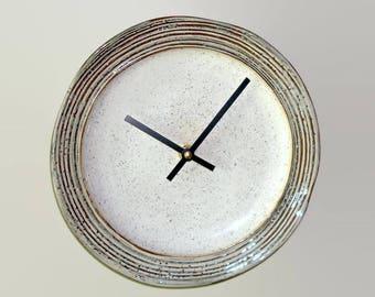 Rustic Pottery Wall Clock 8-3/4 Inches SILENT, Kitchen Wall Clock, Stoneware Plate Clock, Unique Wall Clock, Tan Brown Clock - 2385