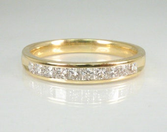 Vintage Diamond Wedding Band - Princess Cut Diamond Wedding Band - 0.50 Carats Diamond Channel Set in 18K Yellow Gold - Appraisal Included