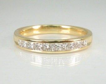 Vintage Diamond Wedding Band - Princess Cut Diamond Wedding Band - 0.50 Carats Diamond Channel Set in 18K Yellow Gold - Appraisal Included