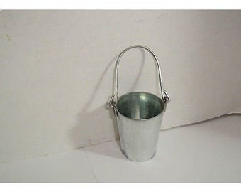 Miniature Galvanized Metal Pail with Handle / Minis/ Craft Supplies*