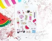 Summer Favorites Stickers Fashion Illustration - Glossy, Permanent / Fashion Illustration, Fashion Sketch,  Planner Sticker, Summer Stickers