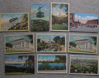 10 Assorted Linen Postcards of OH, VA, Fair to Very Good Condition