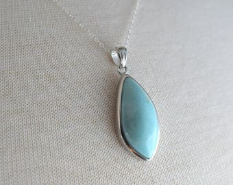 Silver Marquise Larimar Necklace, Silver Necklace, 18 inch Silver Chain, Marquise Larimar Pendant, Gift for her, Gift under 120