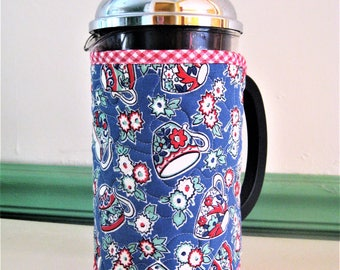 French Press Coffee Cozy, Retro Style Calico Cups on Bright Blue