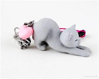 Cat Figurine Grey, Phone Charm Plug, Phone Charm Cat, Kawaii, Japan