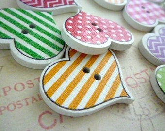 Wooden Buttons - Colourful HEART Buttons - 26mm - Two holes - Pack of 10