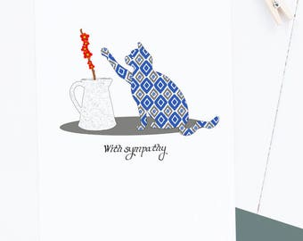 Pet Sympathy Card featuring Cat Drawing - Single card A2 size