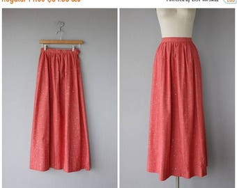 48 HR FLASH SALE 1970s Maxi Skirt | Vintage Chambray Skirt | Chambray Maxi Skirt | Vintage 70s Skirt | 70s Maxi Skirt | Red Maxi Skirt