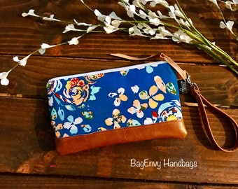 Teal Boho Floral with Vegan Leather - Zippered Wristlet Clutch /  Bridesmaid Gift- Accessory Make Up Bag -