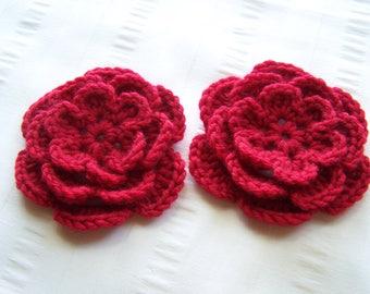 Crochet flowers red 3 inch embellishment merino cashmere