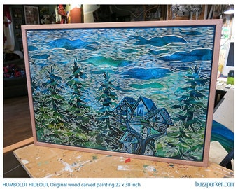 Humboldt Hideout, Original Artwork Carved Wood Painting by Buzz Parker Redwood Trees Treehouse Mansion Getaway Solitude